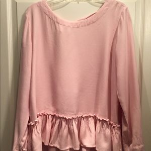 Anthropology Cloth & Stone Pink Ruffle Top sz L